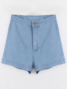 Shorts Denim à Taille Haute - Bleu Clair L