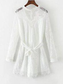 Choker Lace Sheer Romper With Tie Belt - White M