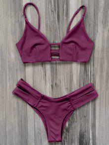 قفص العصابات بيكيني ملابس السباحة - عنابي اللون M