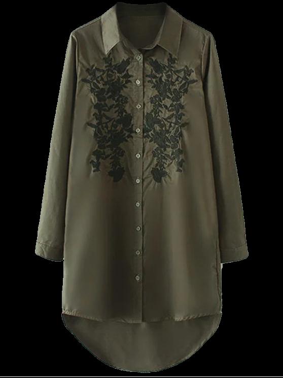 Floreale ricamato Alto Basso Camicia - verde  S