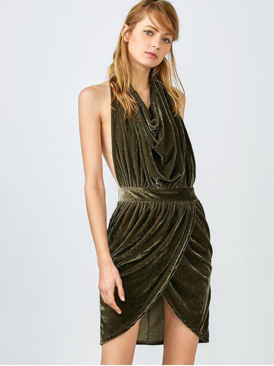 Sem encosto vestido de veludo drapeado - Verde XL