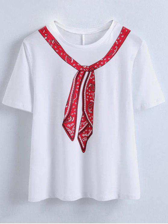 Lustiges Halstuch-Druck-T-Shirt - Weiß S