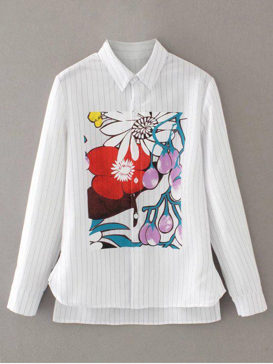 Shirt alto Floral listrado Baixo - Branco S