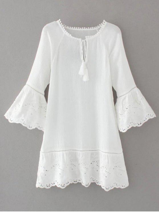 affordable Flare Sleeve Laser Cut Tassels Dress - WHITE S