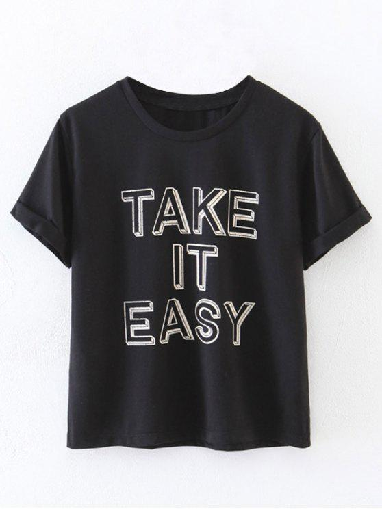 hot Curled Sleeve Take It Easy T-Shirt - BLACK S
