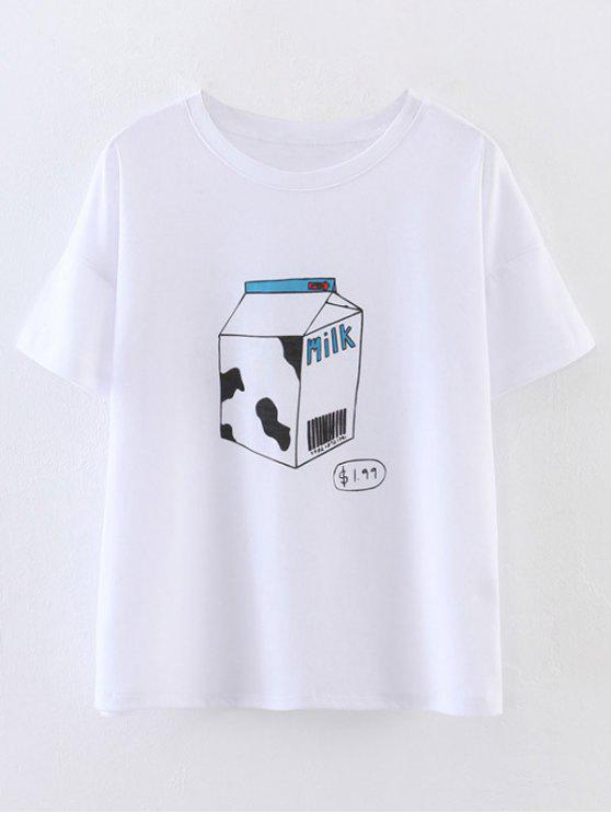 Cute Milk Print T-Shirt - White S