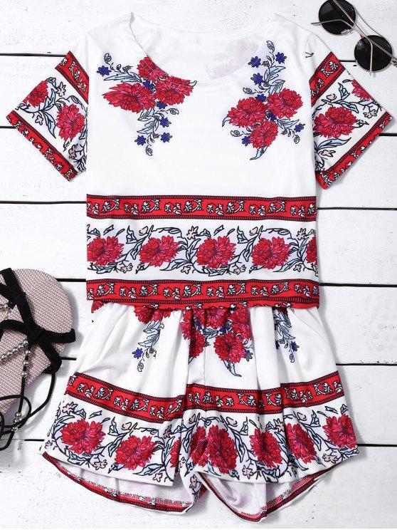 Impresión floral de cultivos tapa y los pantalones calientes Twinset - Blanco M