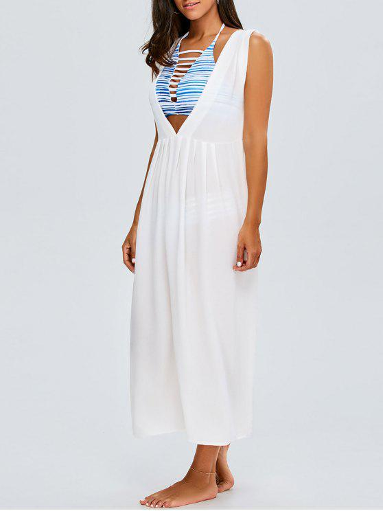 women Chiffon Plunging Neck Cover Up - WHITE ONE SIZE(FIT SIZE XS TO M)