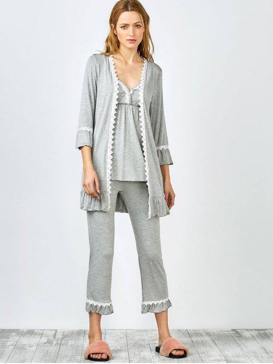 ثلاث الألبسة من بيحامات القميص المفتوح بمادة المخرمات - رمادي XL
