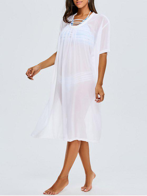 chic Back Slit Chiffon Cover Up For Swimwears - WHITE ONE SIZE(FIT SIZE XS TO M)