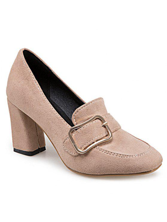 outfits Block Heel Square Toe Pumps - APRICOT 38