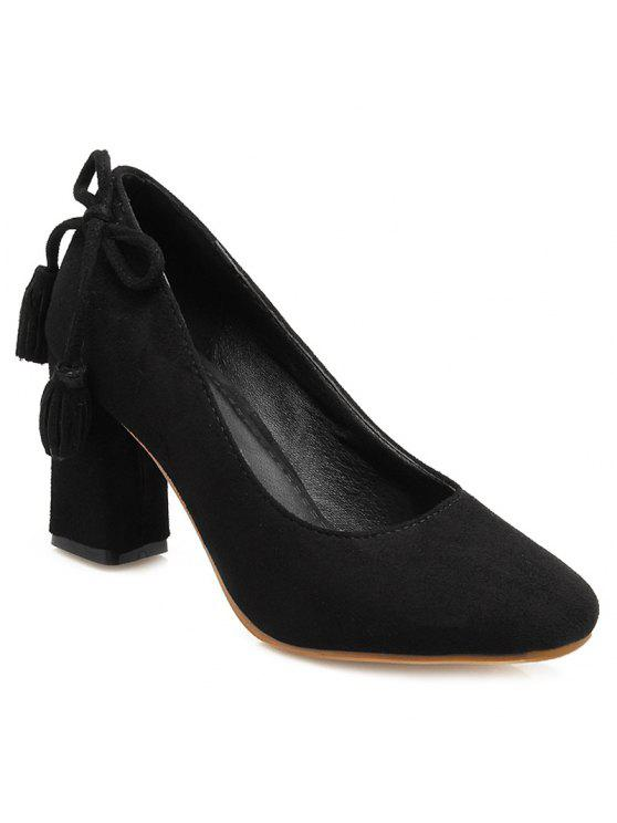 shop Block Heel Tassels Pumps - BLACK 37