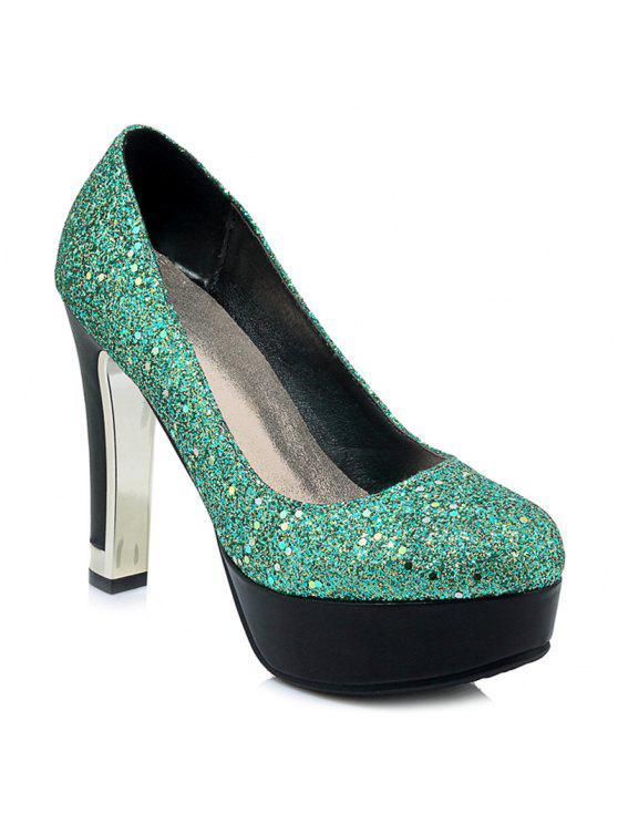 trendy Glitter Round Toe Pumps - GREEN 39