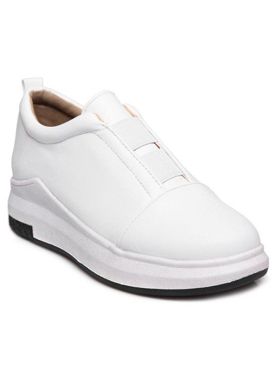 ladies Elastic Round Toe Platform Shoes - WHITE 38