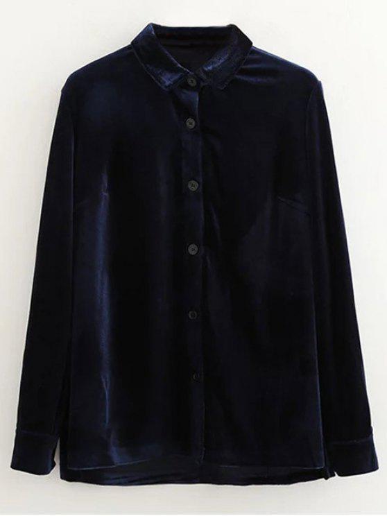 Chemise en velours à simple boutonnage - Bleu Violet L