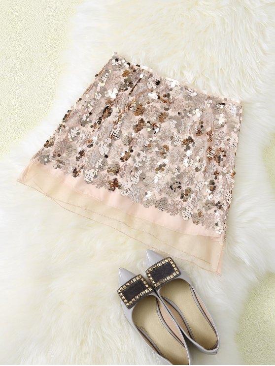 best Sequined Voile Panel A-Line Skirt - GOLDEN L