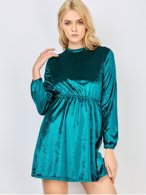affordable Fit and Flare Open Back Velvet Dress - MALACHITE GREEN S