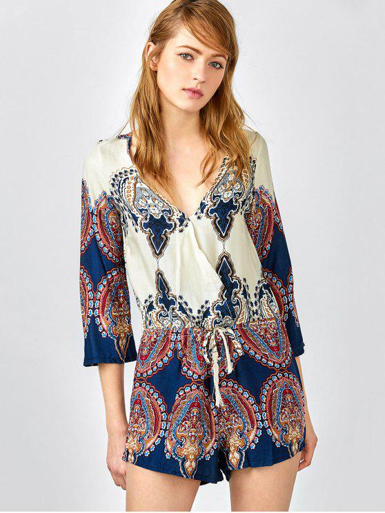 lady Plunging Neck Color Block Abstract Print Romper - COLORMIX S