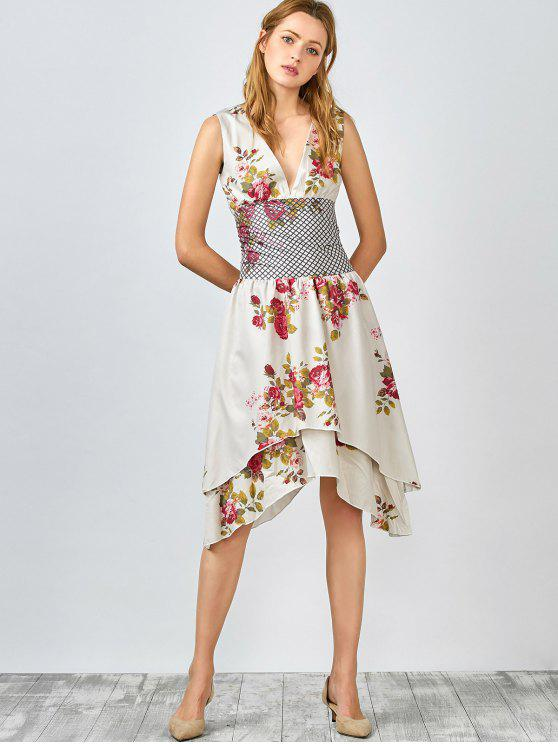 chic Floral Plunging Collar Sleeveless Dress - LIGHT CAMEL L