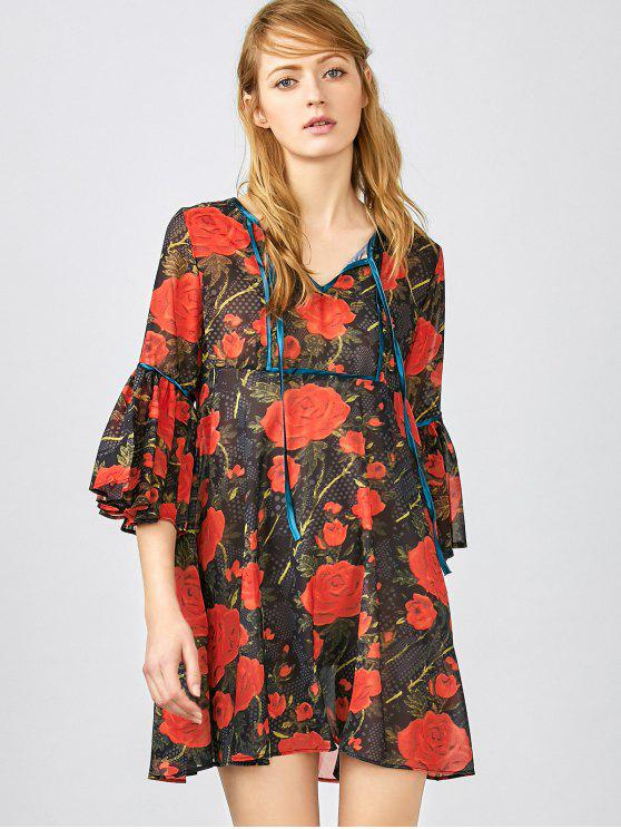 ladies Red Floral 3/4 Sleeve Blouse - RED XS