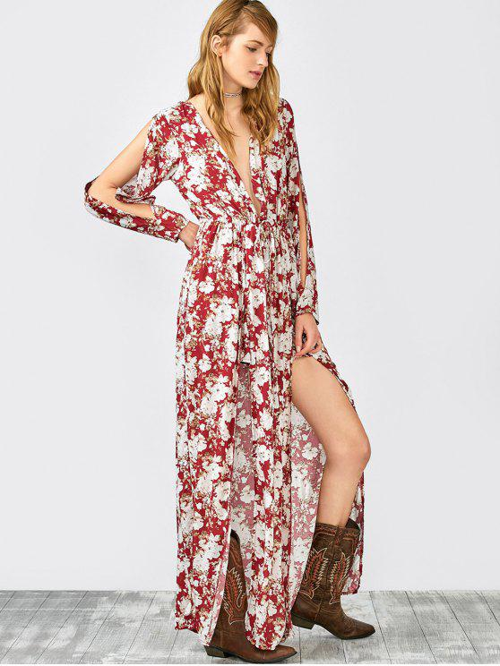 Split Sleeve Plunging Neck Maxi Overlay Romper - Floral