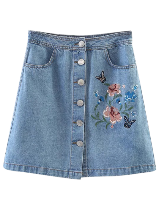 hot Embroidered Single-Breasted Denim Skirt - LIGHT BLUE M