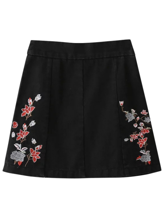 Zíper Floral Denim Skirt - Preto S