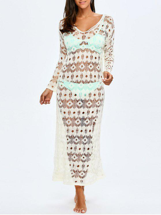 womens Crochet Maxi Cover Up For Swimwears - WHITE ONE SIZE(FIT SIZE XS TO M)