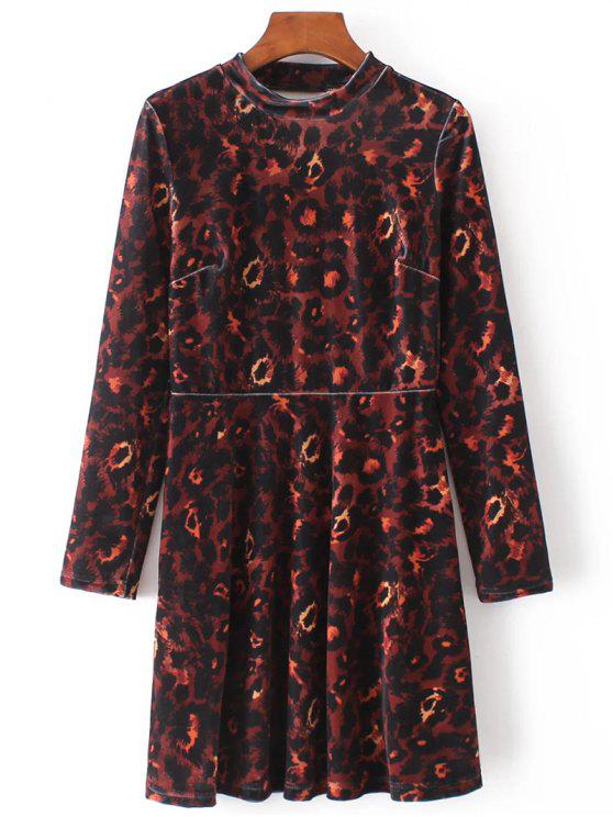 outfit Velvet Camouflage Long Sleeve Dress - BROWN L