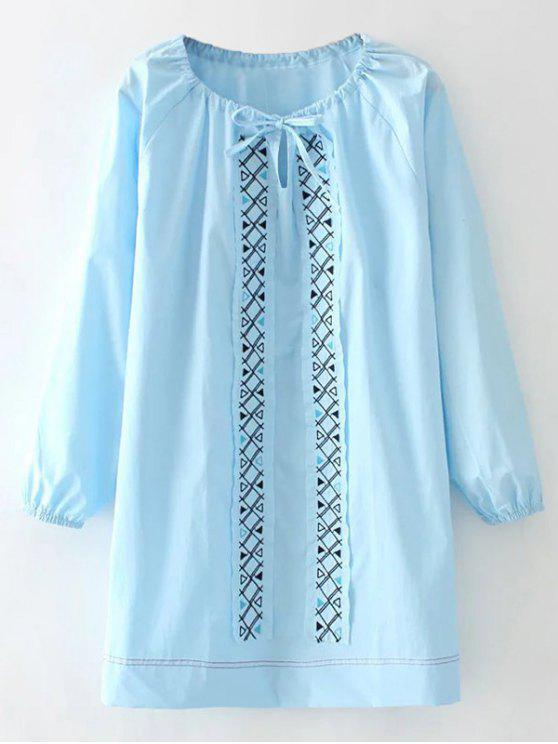 Long Sleeve remendo vestido bordado - Azure L