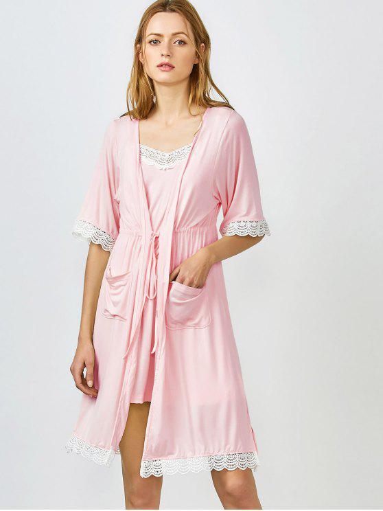 fancy Lace Trim Cami Sleepwear with Kimono - SHALLOW PINK L