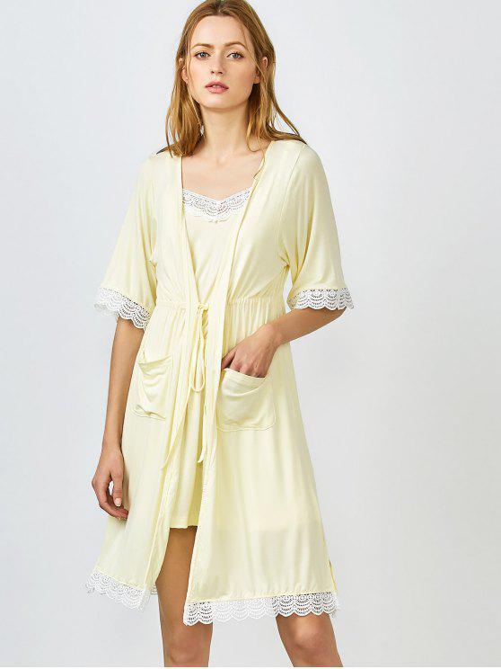 Lace Trim Cami Nachtwäsche mit Kimono - Gelb L