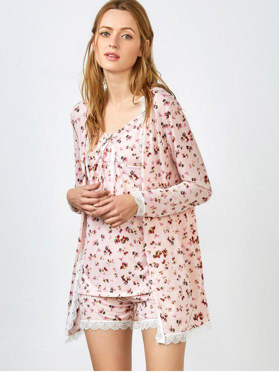 affordable Chemise Slip Dress and Shorts and Sleep Robe - PINK M