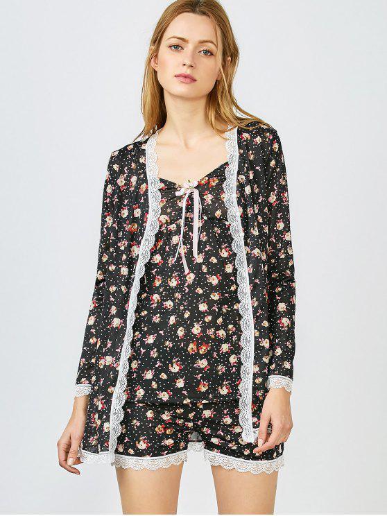 Nuisette et short et robe de nuit imprimés de fleurs minuscules - Noir M