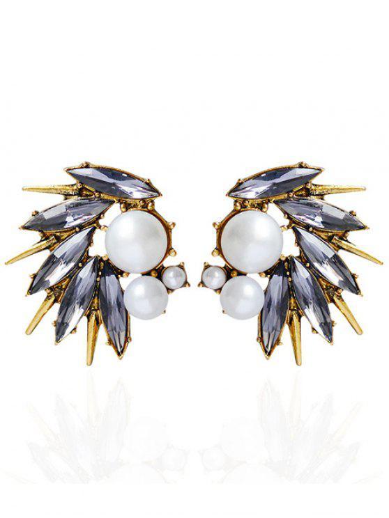 ladies Rhinestone Artificial Pearl Stud Earrings - GOLDEN
