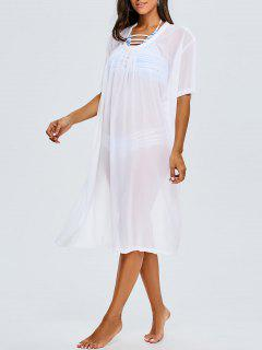 Back Slit Chiffon Cover Up For Swimwears - White