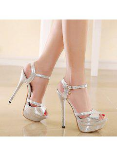 Platform Metallic Color Sandals - Silver 37