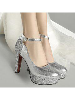 Platform Metallic Color Pumps - Silver 37