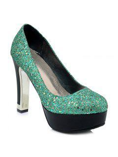 Glitter Round Toe Pumps - Green 39