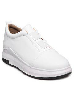 Elastic Round Toe Platform Shoes - White 38