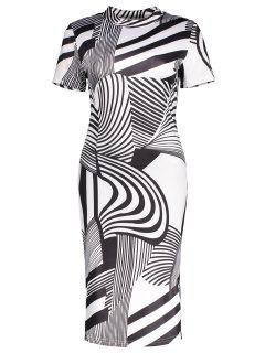 Striped Print High Neck Sheath Dress - Black M