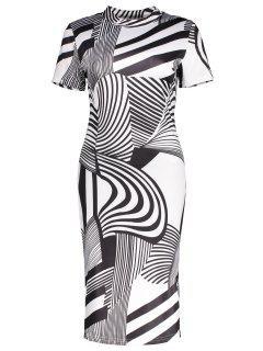 Striped Print High Neck Sheath Dress - Black Xl