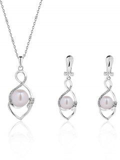 Faux Pearl Infinity Alloy Jewelry Set - Silver