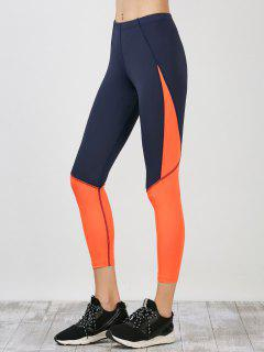 Sporty Colorblock Capri Running Leggings - Deep Blue S