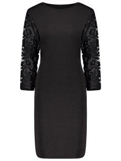 Plus Size Lace Insert Bodycon Sheath Dress - Black 6xl
