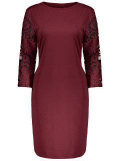 Plus Size Lace Insert Bodycon Sheath Dress - Claret 6xl