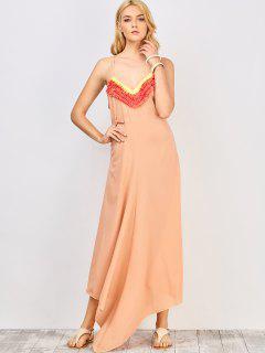 Increspature Impiombato Spalline Maxi Dress - Roseo M