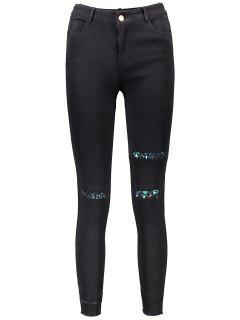 Sequin Embellished Skinny Leg Ripped Pencil Pants - Black S
