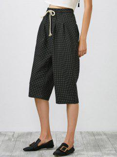High Rise Drawstring Geometric Print Pants - Black