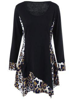 Plus Size Leopard Trim Tunika T-Shirt - Schwarz 3xl